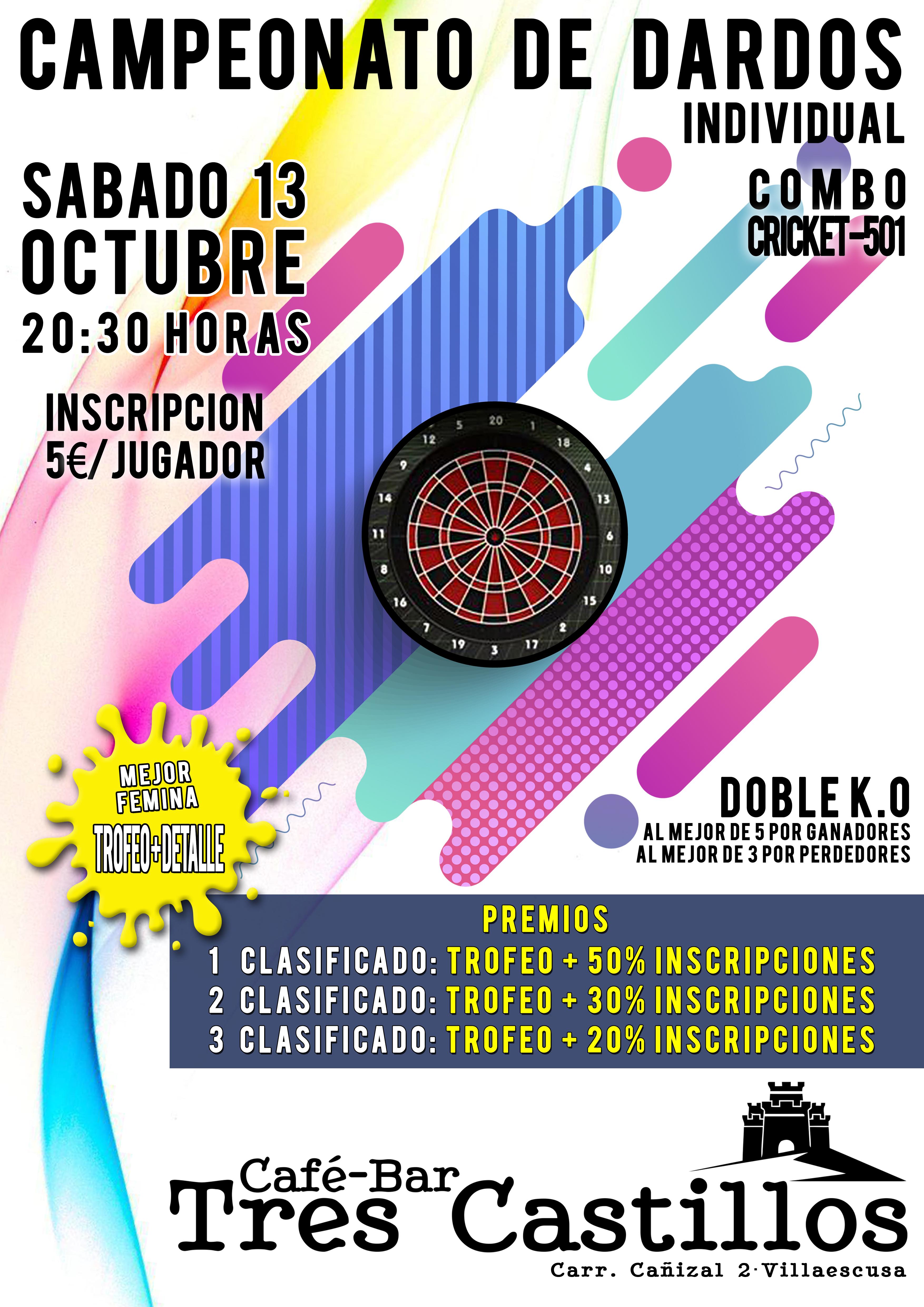 Cártel Campeonato de dardos - Tres Castillos.